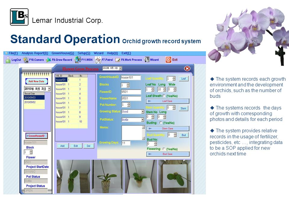 Standard Opera tion Orchid growth record system The system records each growth environment and the development of orchids, such as the number of buds
