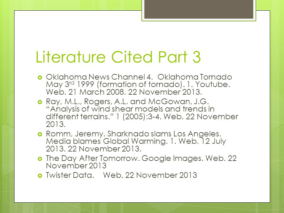 Literature Cited Part 3 Oklahoma News Channel 4.