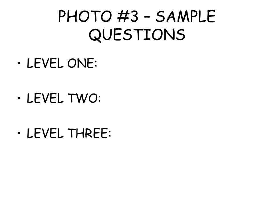 PHOTO #3 – SAMPLE QUESTIONS LEVEL ONE: LEVEL TWO: LEVEL THREE: