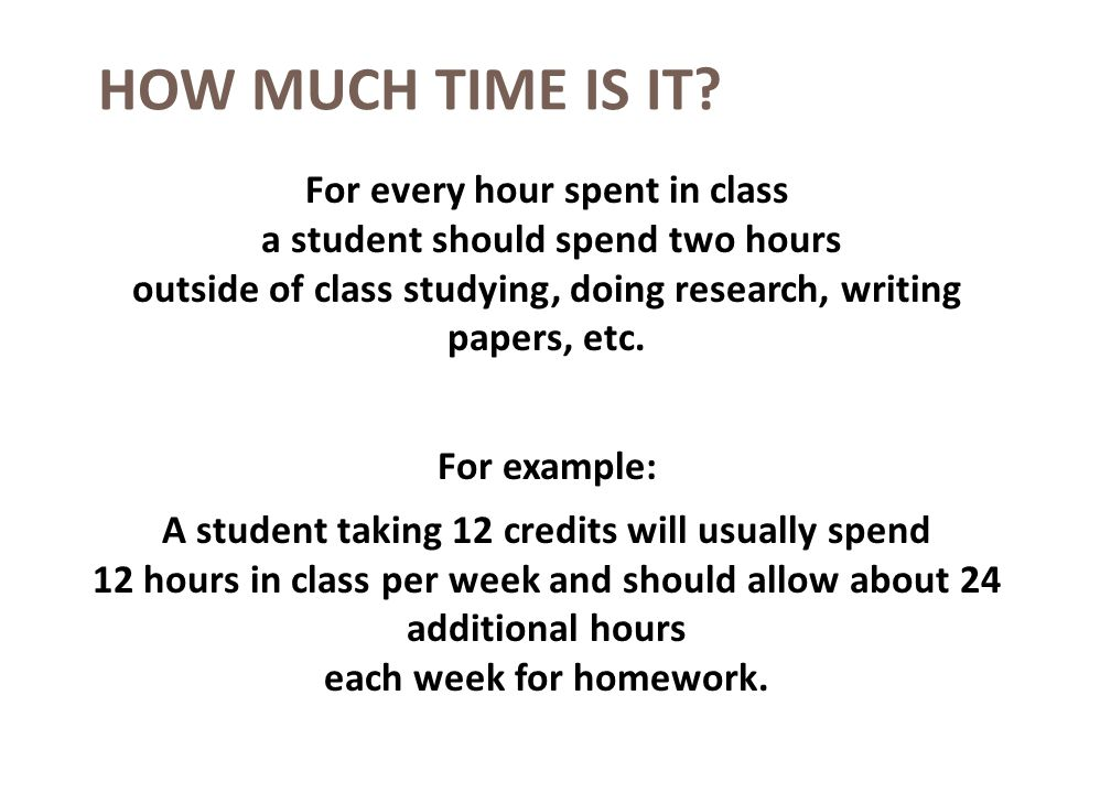 HOW MUCH TIME IS IT? For every hour spent in class a student should spend two hours outside of class studying, doing research, writing papers, etc. Fo