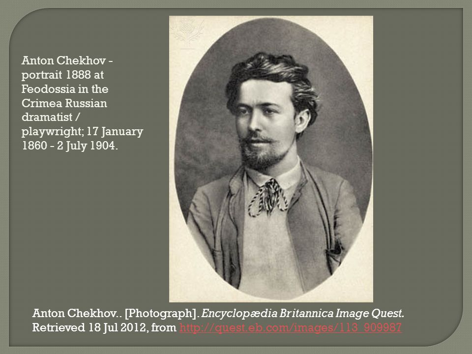 Anton Chekhov - portrait 1888 at Feodossia in the Crimea Russian dramatist / playwright; 17 January 1860 - 2 July 1904. Anton Chekhov.. [Photograph].