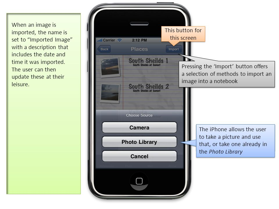 The iPhone allows the user to take a picture and use that, or take one already in the Photo Library Pressing the Import button offers a selection of methods to import an image into a notebook When an image is imported, the name is set to Imported Image with a description that includes the date and time it was imported.