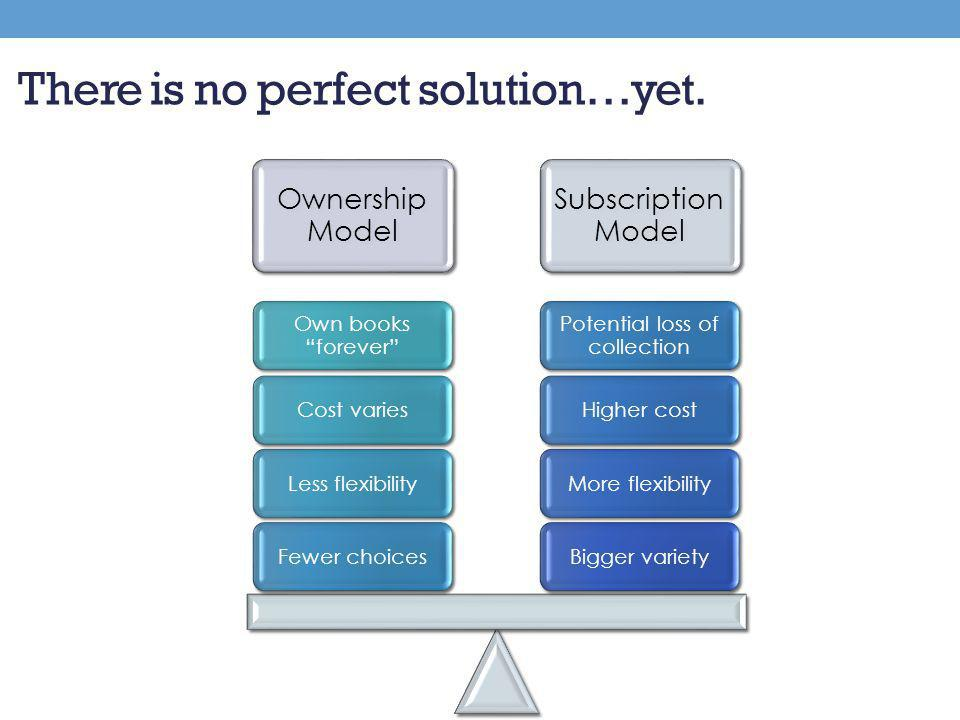 Ownership Model Subscription Model Bigger varietyMore flexibilityHigher cost Potential loss of collection Fewer choicesLess flexibilityCost varies Own books forever There is no perfect solution…yet.