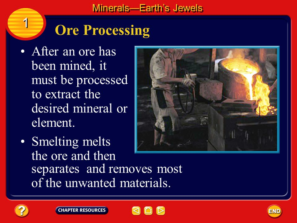 A mineral is called an ore if it contains enough of a useful substance that it can be sold for a profit. Ores MineralsEarths Jewels 1 1 The iron used