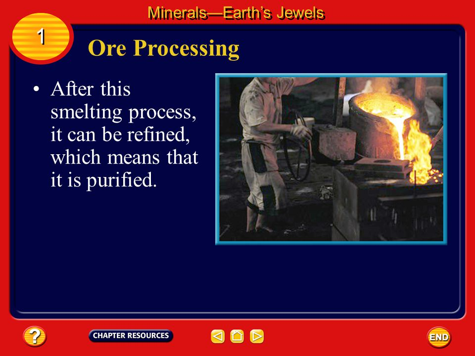After an ore has been mined, it must be processed to extract the desired mineral or element. Ore Processing MineralsEarths Jewels 1 1 Smelting melts t