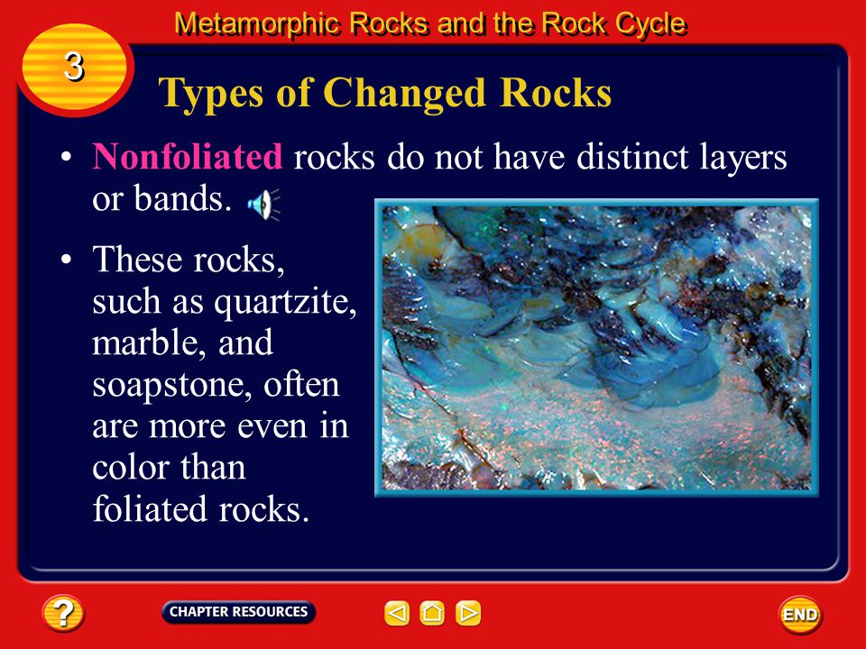 Types of Changed Rocks Foliated rocks have visible layers or elongated grains of minerals. Metamorphic Rocks and the Rock Cycle 3 3 These minerals hav