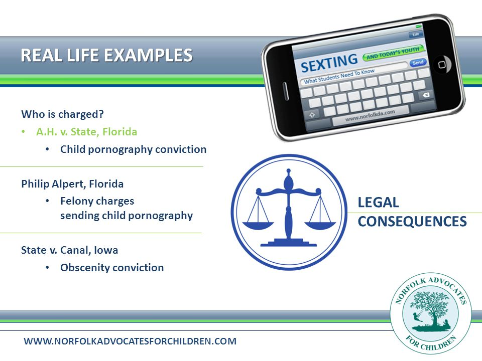 WWW.NORFOLKADVOCATESFORCHILDREN.COM REAL LIFE EXAMPLES LEGAL CONSEQUENCES Who is charged.