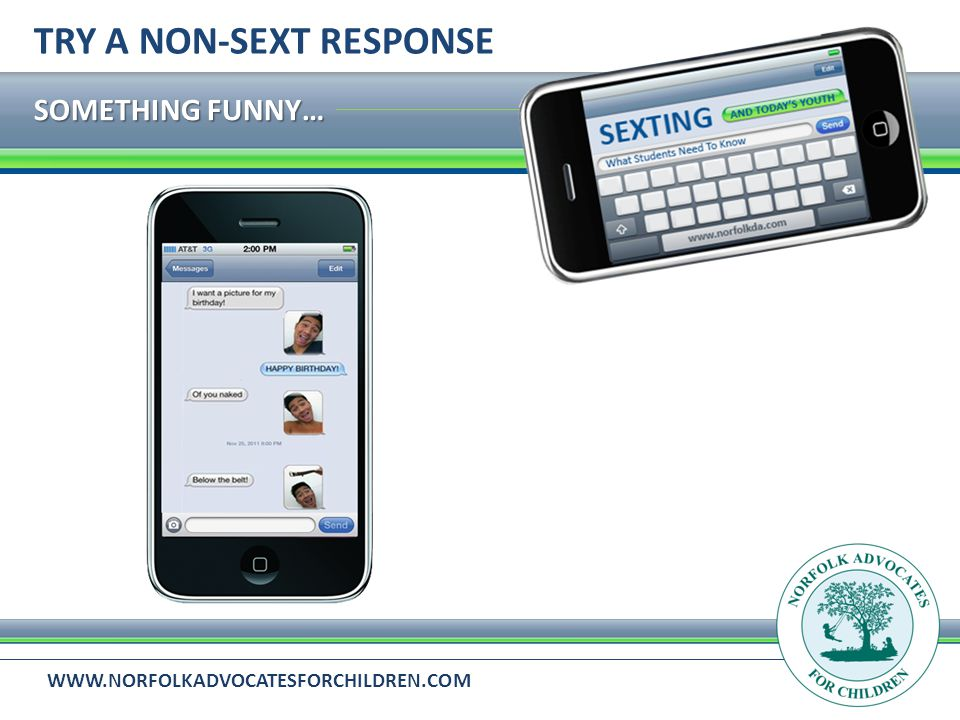 WWW.NORFOLKADVOCATESFORCHILDREN.COM SOMETHING FUNNY… TRY A NON-SEXT RESPONSE
