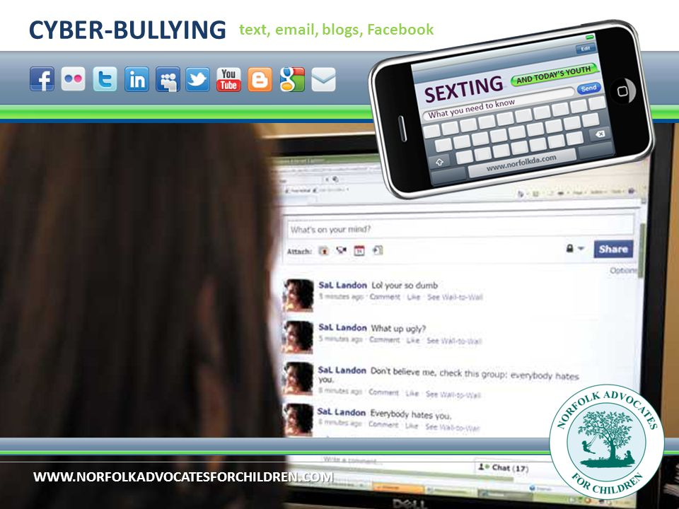 WWW.NORFOLKADVOCATESFORCHILDREN.COM CYBER-BULLYING text, email, blogs, Facebook