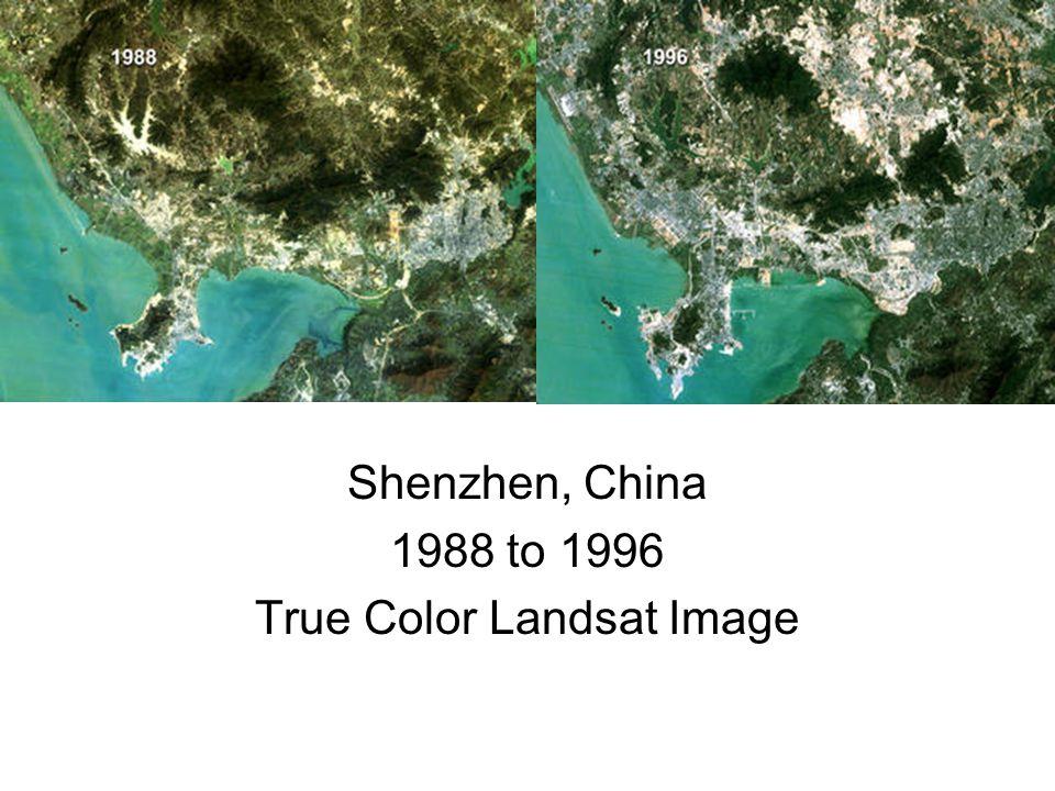 Shenzhen, China 1988 to 1996 True Color Landsat Image