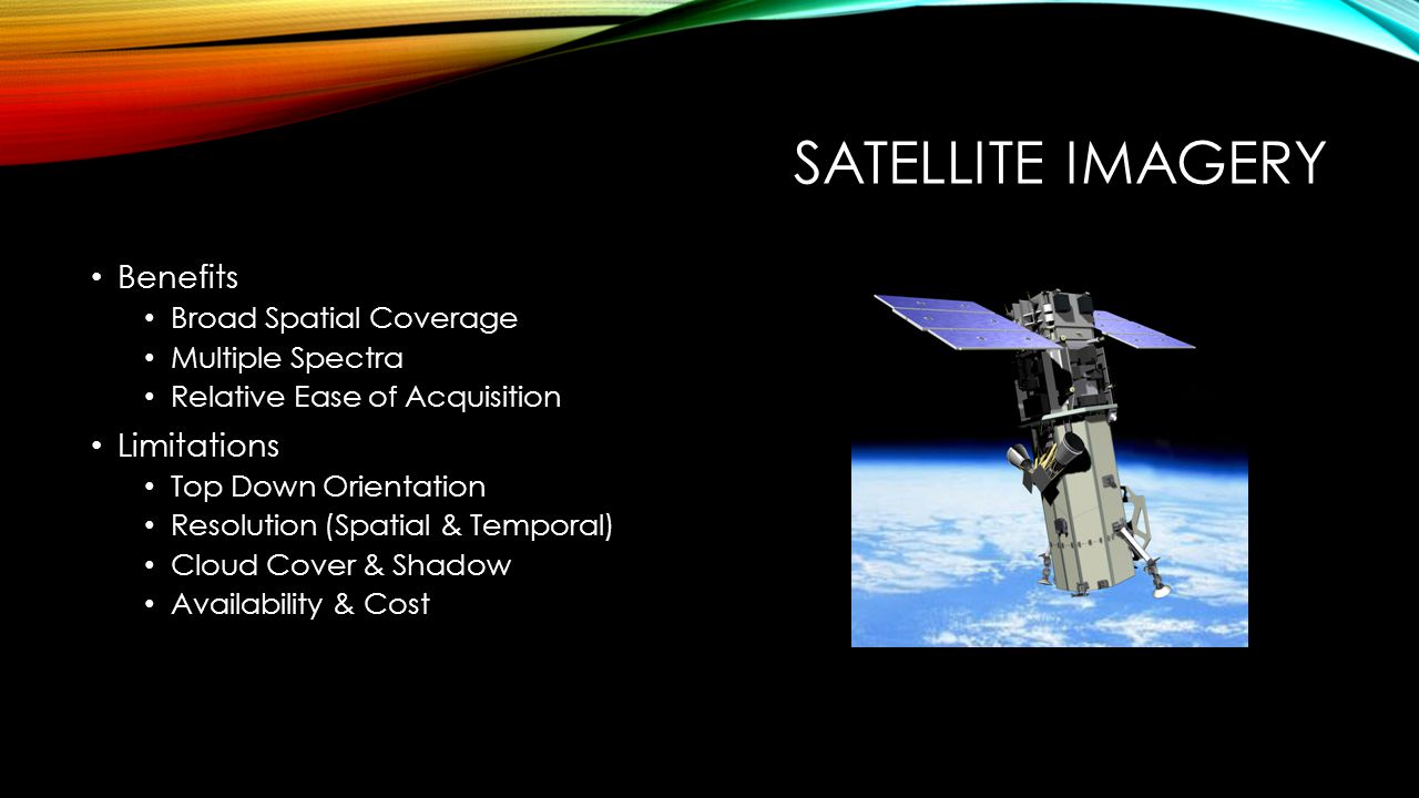 SATELLITE IMAGERY Benefits Broad Spatial Coverage Multiple Spectra Relative Ease of Acquisition Limitations Top Down Orientation Resolution (Spatial & Temporal) Cloud Cover & Shadow Availability & Cost