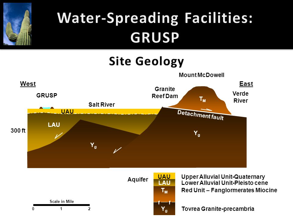 Water-Spreading Facilities: GRUSP Scale in Mile 201 Lower Alluvial Unit-Pleisto cene Red Unit – Fanglormerates Miocine Tovrea Granite-precambria Upper