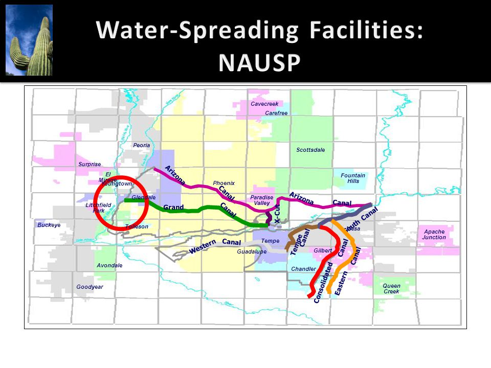 Water-Spreading Facilities: NAUSP Arizona Canal Arizona Canal X-Cut Grand Canal South Canal Eastern Canal Consolidated Canal Tempe Canal Western Canal