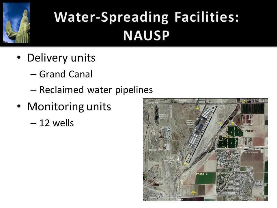 Water-Spreading Facilities: NAUSP Delivery units – Grand Canal – Reclaimed water pipelines Monitoring units – 12 wells