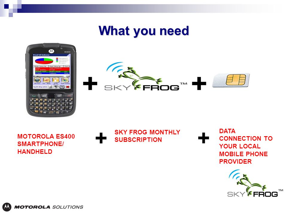 What you need MOTOROLA ES400 SMARTPHONE/ HANDHELD SKY FROG MONTHLY SUBSCRIPTION DATA CONNECTION TO YOUR LOCAL MOBILE PHONE PROVIDER + +