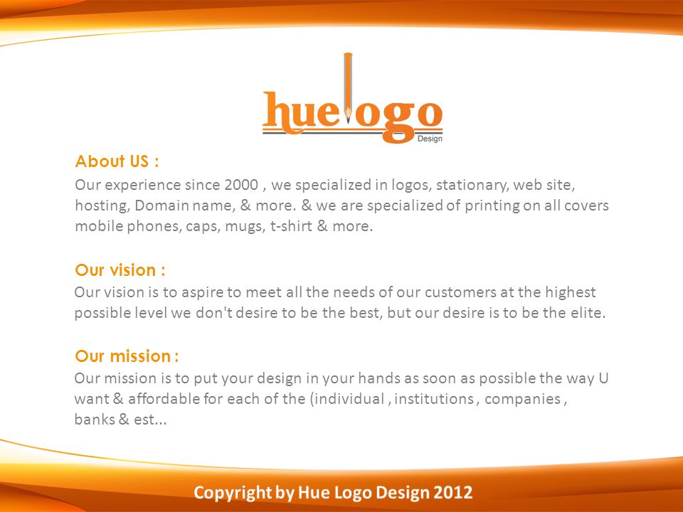 About US : Our experience since 2000, we specialized in logos, stationary, web site, hosting, Domain name, & more.