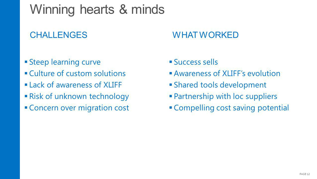 Winning hearts & minds CHALLENGES PAGE 12 Steep learning curve Culture of custom solutions Lack of awareness of XLIFF Risk of unknown technology Concern over migration cost Success sells Awareness of XLIFFs evolution Shared tools development Partnership with loc suppliers Compelling cost saving potential WHAT WORKED