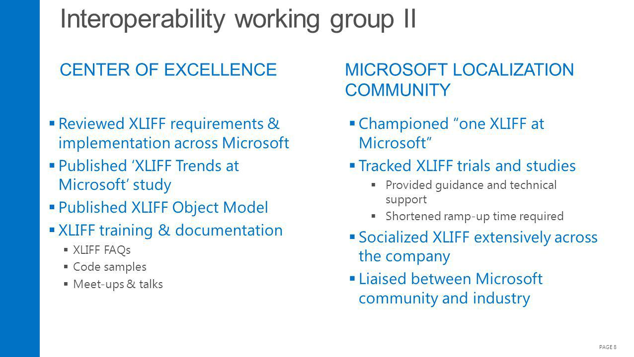 Interoperability working group II CENTER OF EXCELLENCE PAGE 8 Reviewed XLIFF requirements & implementation across Microsoft Published XLIFF Trends at Microsoft study Published XLIFF Object Model XLIFF training & documentation XLIFF FAQs Code samples Meet-ups & talks Championed one XLIFF at Microsoft Tracked XLIFF trials and studies Provided guidance and technical support Shortened ramp-up time required Socialized XLIFF extensively across the company Liaised between Microsoft community and industry MICROSOFT LOCALIZATION COMMUNITY