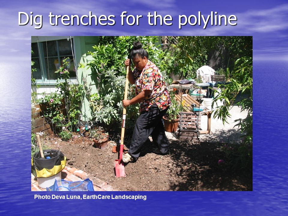 Dig trenches for the polyline Photo Deva Luna, EarthCare Landscaping