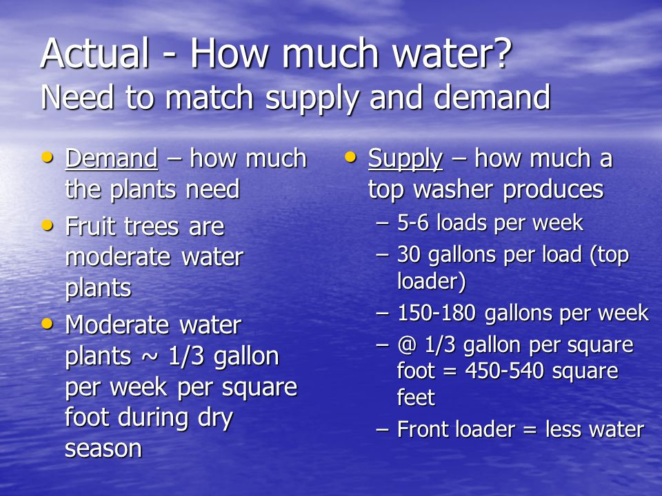 Actual - How much water? Need to match supply and demand Demand – how much the plants need Demand – how much the plants need Fruit trees are moderate