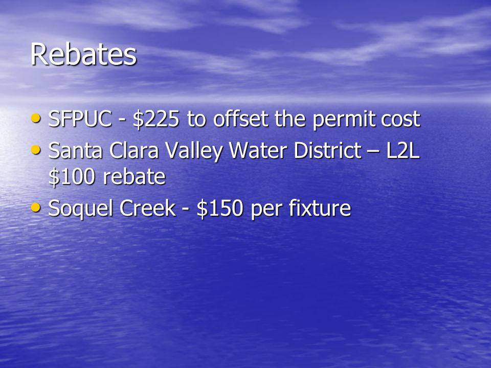 Rebates SFPUC - $225 to offset the permit cost SFPUC - $225 to offset the permit cost Santa Clara Valley Water District – L2L $100 rebate Santa Clara