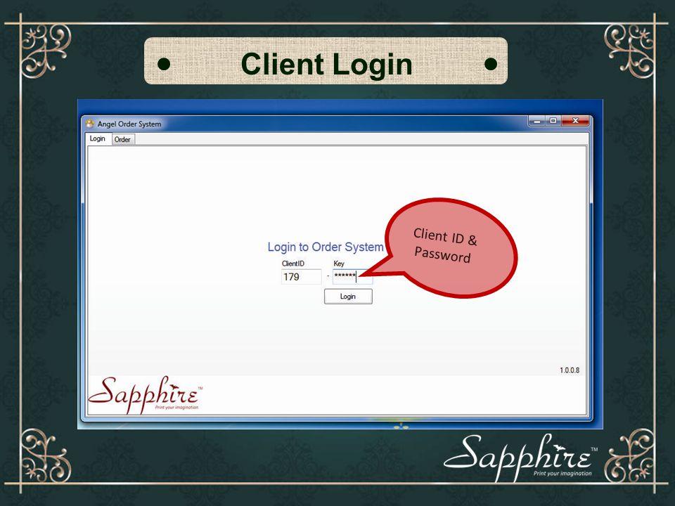Client Login Client ID & Password