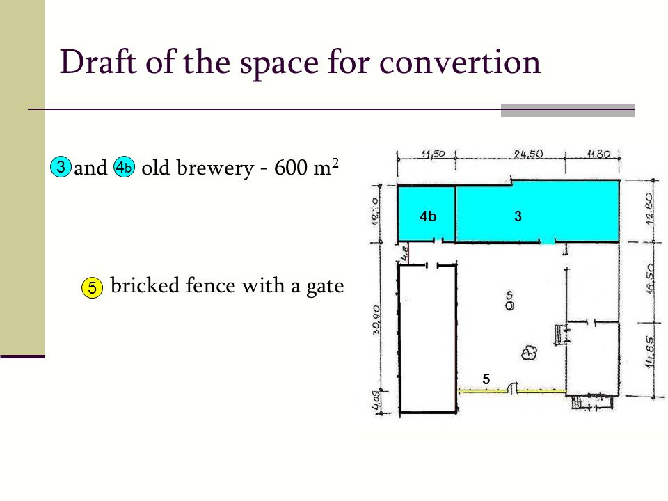 Draft of the space for convertion and old brewery - 600 m 2 bricked fence with a gate 34b4b 5 34b 5