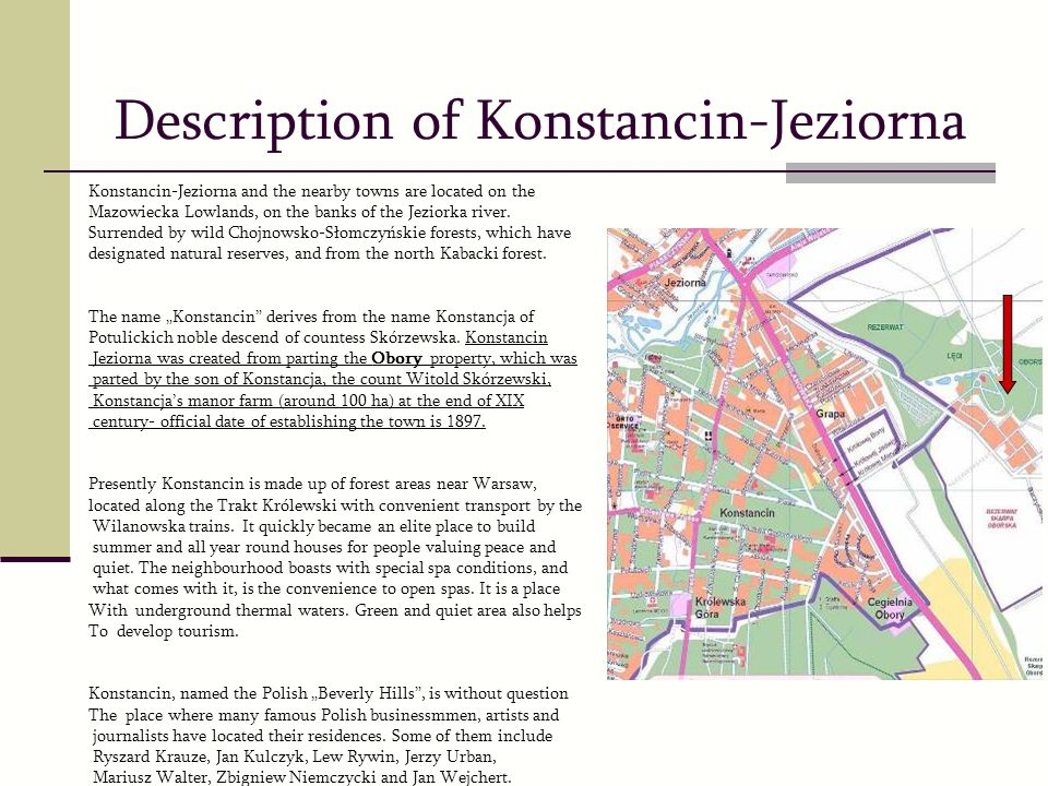 Konstancin-Jeziorna and the nearby towns are located on the Mazowiecka Lowlands, on the banks of the Jeziorka river.