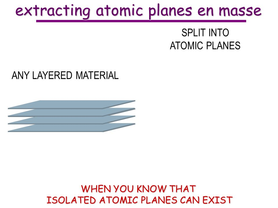 ANY LAYERED MATERIAL SPLIT INTO ATOMIC PLANES extracting atomic planes en masse WHEN YOU KNOW THAT ISOLATED ATOMIC PLANES CAN EXIST