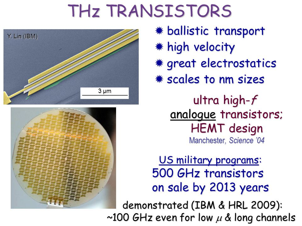 ultra high-f analogue transistors; HEMT design Manchester, Science 04 -100-50010050 V g (V) (k ) 0 2 4 6 SiO 2 Si graphene US military programs: 500 G