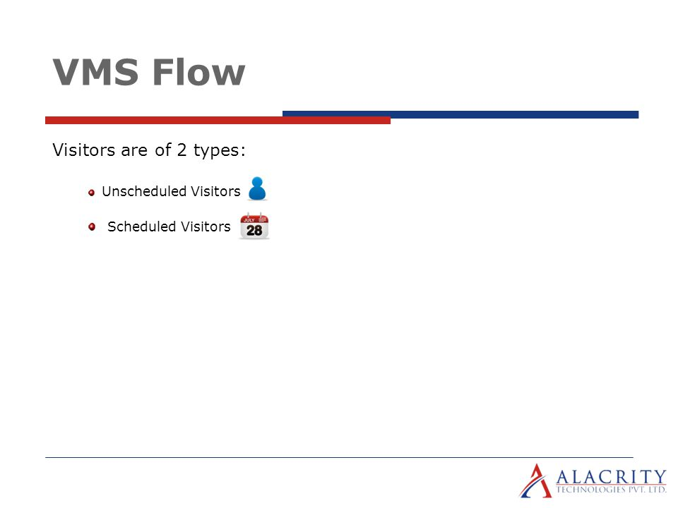 VMS Flow Visitors are of 2 types: Unscheduled Visitors Scheduled Visitors