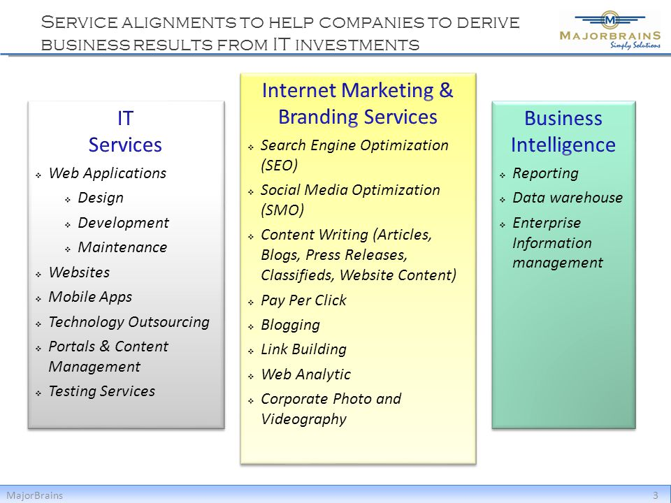 Service alignments to help companies to derive business results from IT investments MajorBrains3