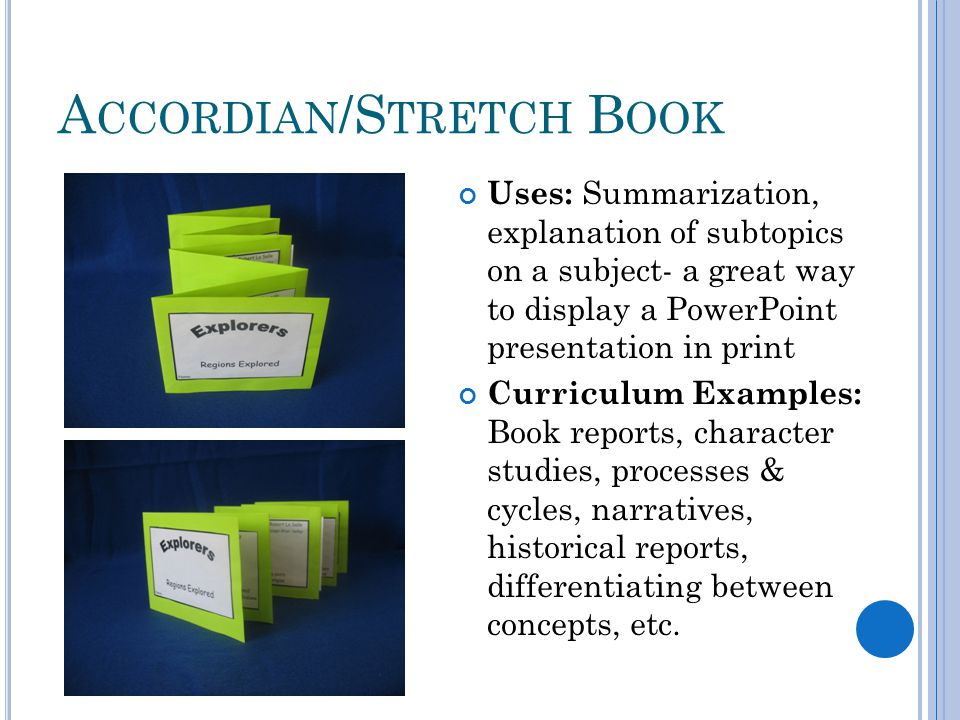 A CCORDIAN /S TRETCH B OOK Uses: Summarization, explanation of subtopics on a subject- a great way to display a PowerPoint presentation in print Curriculum Examples: Book reports, character studies, processes & cycles, narratives, historical reports, differentiating between concepts, etc.