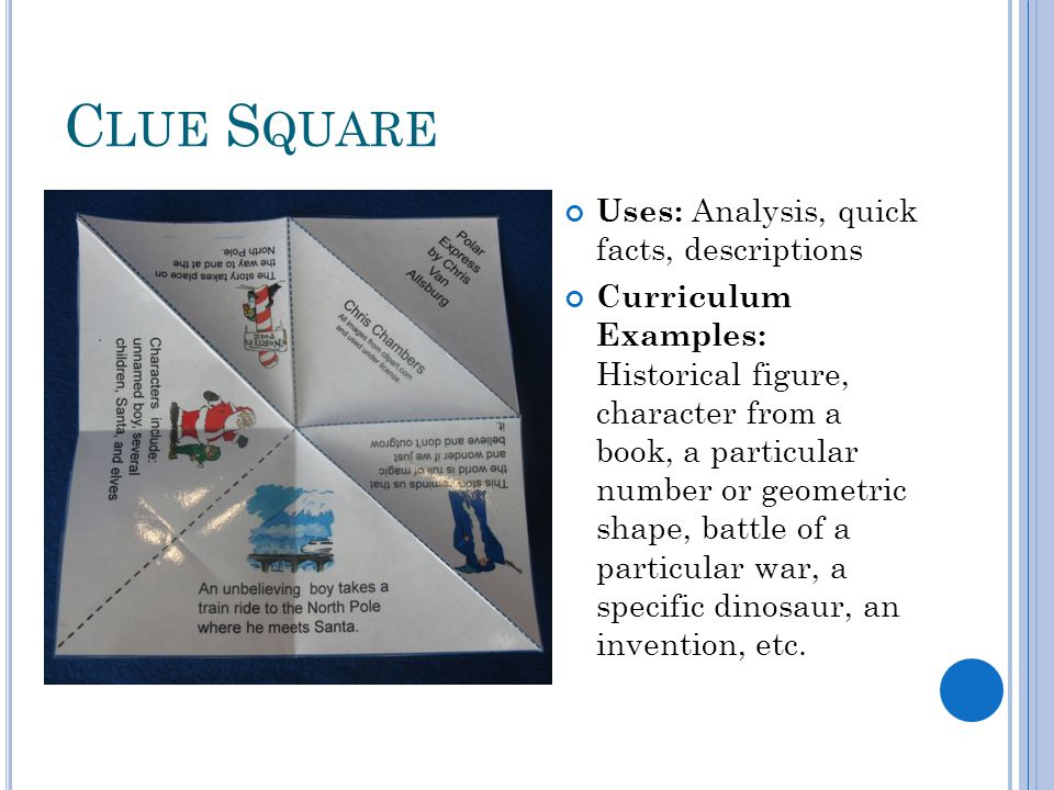 C LUE S QUARE Uses: Analysis, quick facts, descriptions Curriculum Examples: Historical figure, character from a book, a particular number or geometric shape, battle of a particular war, a specific dinosaur, an invention, etc.