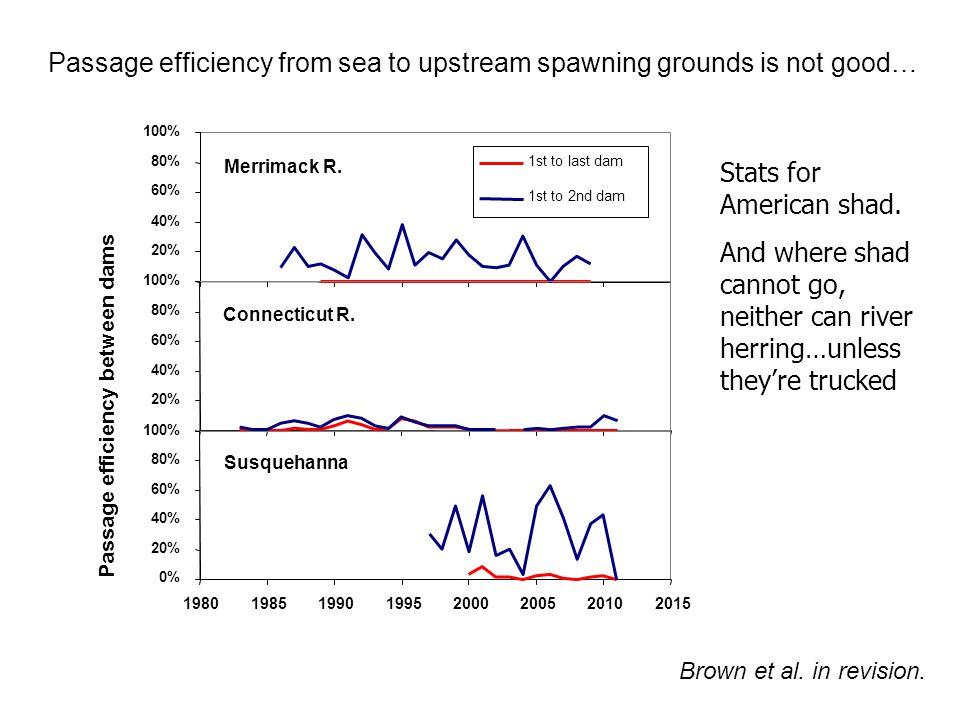 Merrimack R. 20% 40% 60% 80% 100% 1st to last dam 1st to 2nd dam Connecticut R. 20% 40% 60% 80% 100% Susquehanna 0% 20% 40% 60% 80% 100% 1980198519901