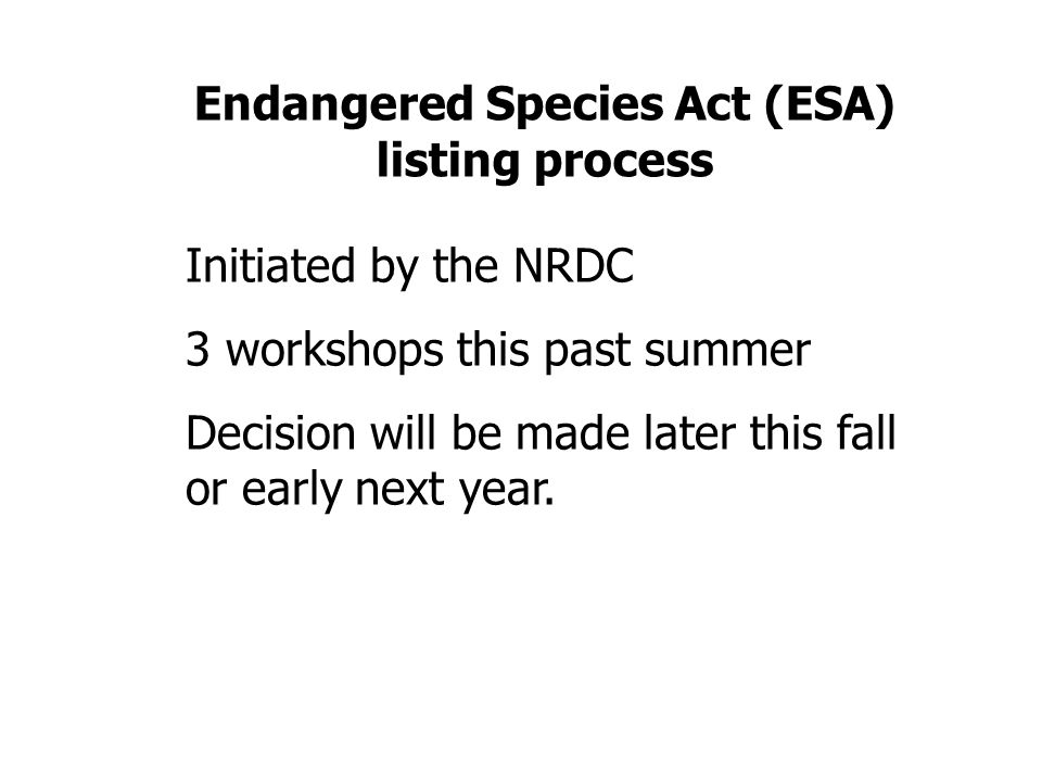 Endangered Species Act (ESA) listing process Initiated by the NRDC 3 workshops this past summer Decision will be made later this fall or early next ye