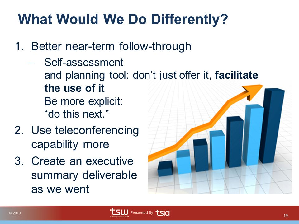 What Would We Do Differently? 1.Better near-term follow-through –Self-assessment and planning tool: dont just offer it, facilitate the use of it Be mo