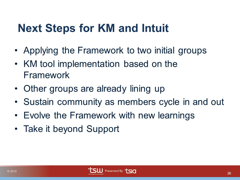 Next Steps for KM and Intuit Applying the Framework to two initial groups KM tool implementation based on the Framework Other groups are already linin