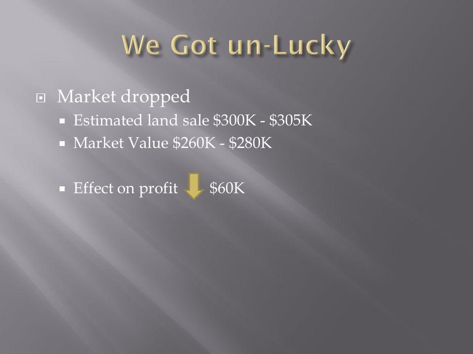 Market dropped Estimated land sale $300K - $305K Market Value $260K - $280K Effect on profit $60K