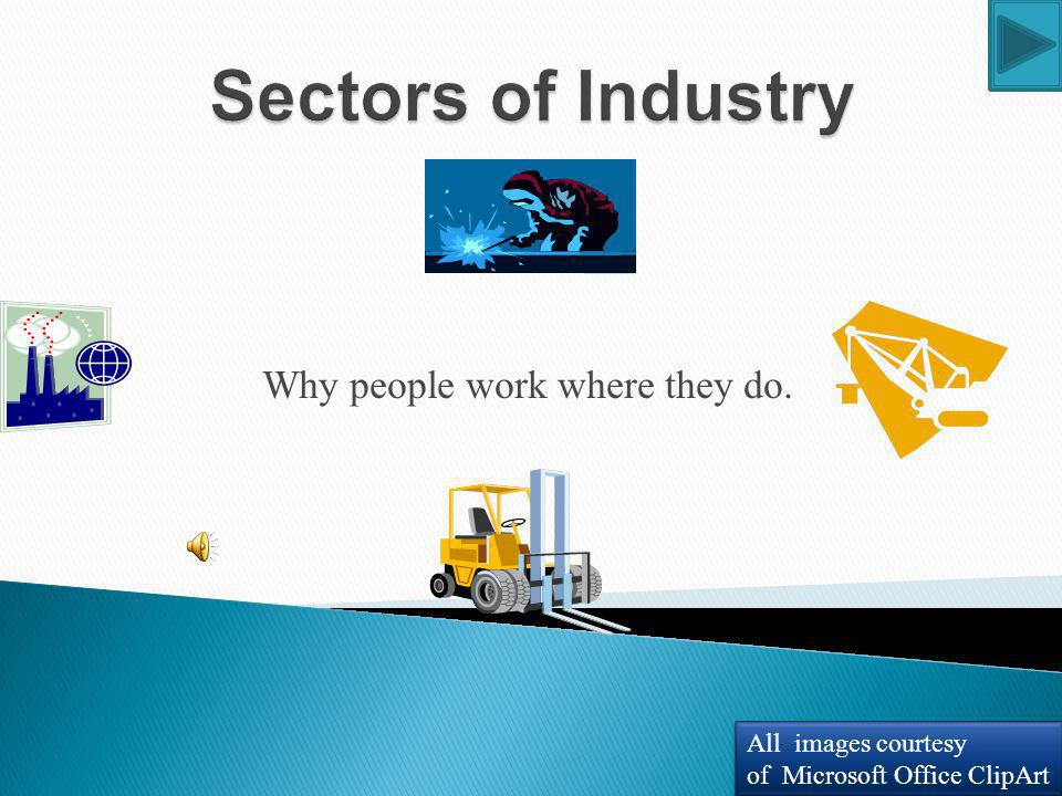 Learning Objectives Students will accept that people have always worked and that they too will work one day. Students will identify the four industry