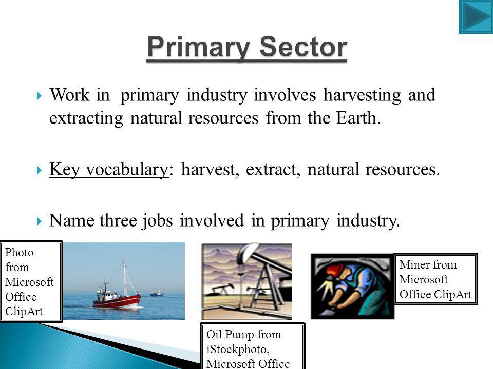 Work in primary industry involves harvesting and extracting natural resources from the Earth.