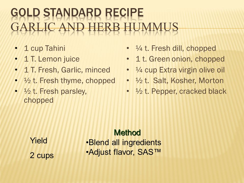1 cup Tahini 1 T. Lemon juice 1 T. Fresh, Garlic, minced ½ t. Fresh thyme, chopped ½ t. Fresh parsley, chopped ¼ t. Fresh dill, chopped 1 t. Green oni