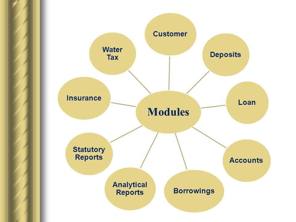 Modules CustomerDepositsLoanAccountsBorrowings Analytical Reports Statutory Reports Insurance Water Tax