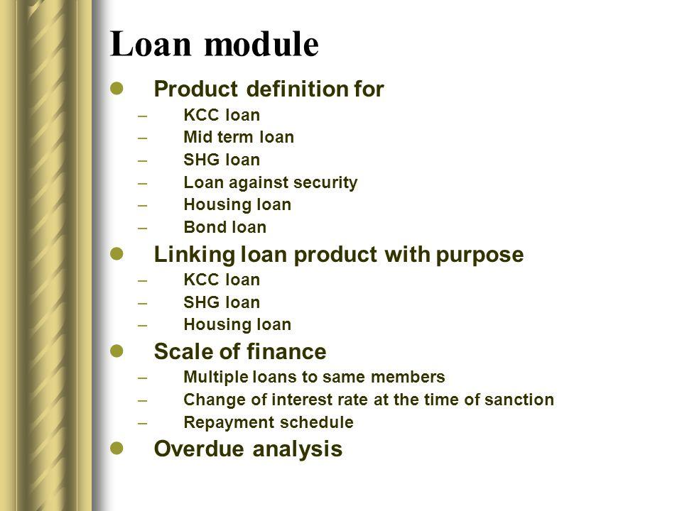 Loan module Loan application AppraisalSanctionDisbursementRepaymentLoan close