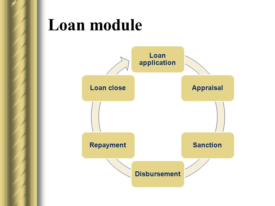 Loan module Loan application AppraisalSanctionDisbursementRepaymentLoan close
