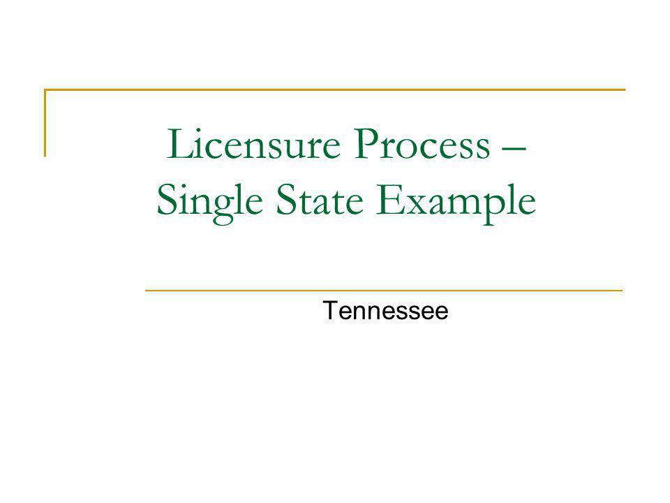 Licensure Process – Single State Example Tennessee