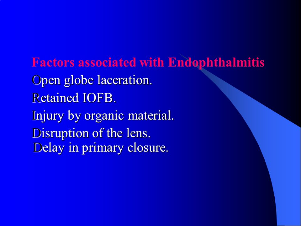 Factors associated with Endophthalmitis Open globe laceration. Open globe laceration. Retained IOFB. Retained IOFB. Injury by organic material. Injury