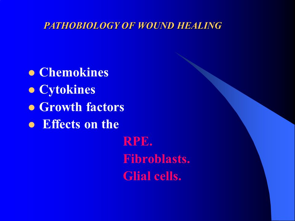 Chemokines Cytokines Growth factors Effects on the RPE. Fibroblasts. Glial cells. PATHOBIOLOGY OF WOUND HEALING