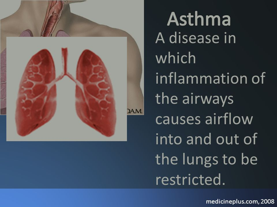 A disease in which inflammation of the airways causes airflow into and out of the lungs to be restricted. medicineplus.com, 2008