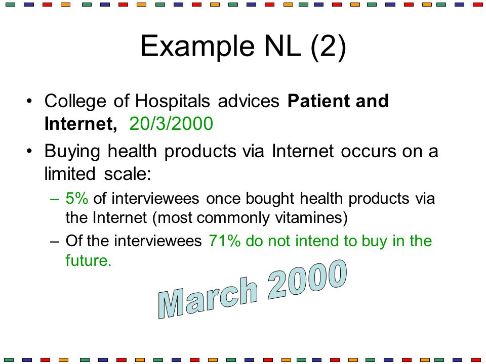 Example NL (2) College of Hospitals advices Patient and Internet, 20/3/2000 Buying health products via Internet occurs on a limited scale: –5% of inte